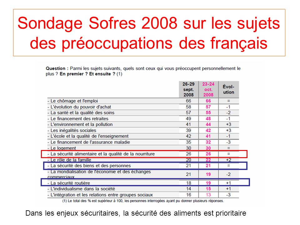 Sondage Sofres 2008 sur les sujets des préoccupations des français