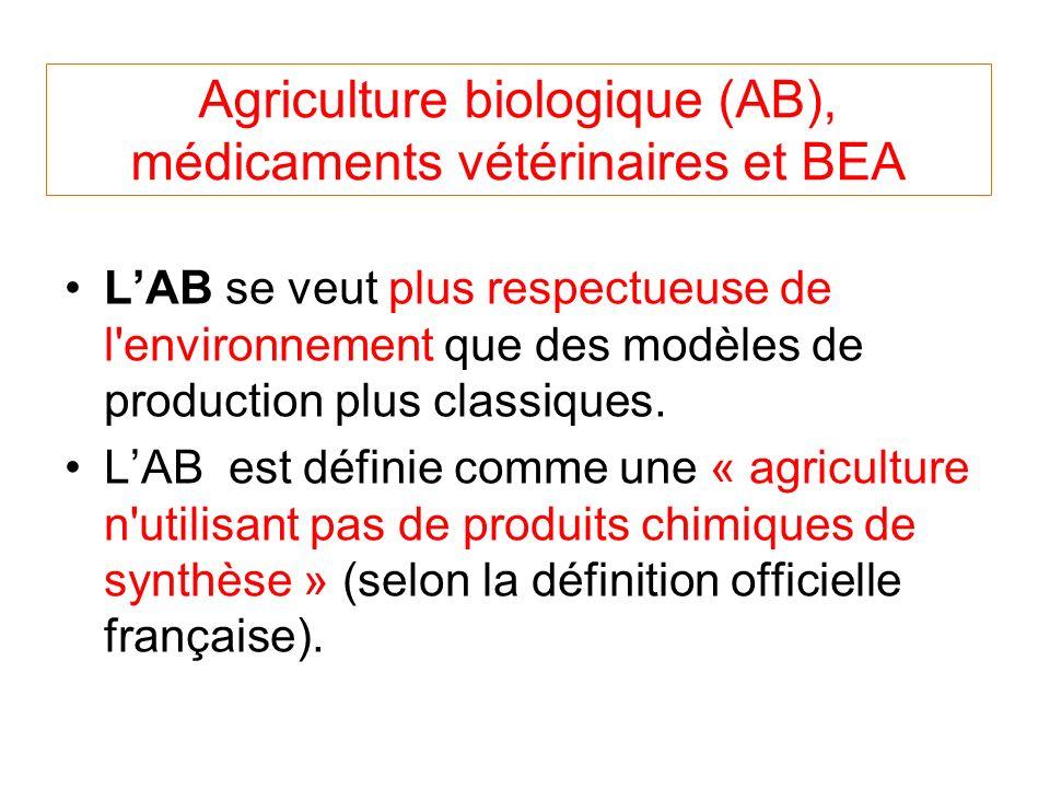 Agriculture biologique (AB), médicaments vétérinaires et BEA