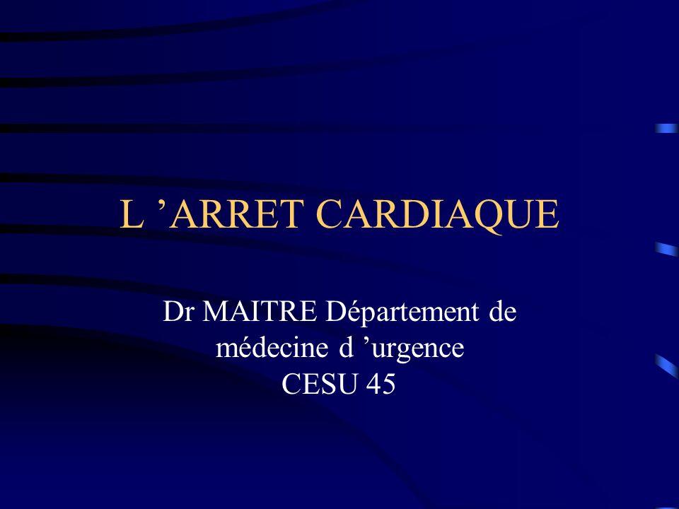 Dr MAITRE Département de médecine d 'urgence CESU 45