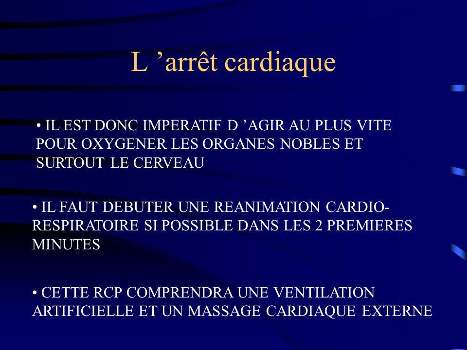 L 'arrêt cardiaque IL EST DONC IMPERATIF D 'AGIR AU PLUS VITE POUR OXYGENER LES ORGANES NOBLES ET SURTOUT LE CERVEAU.