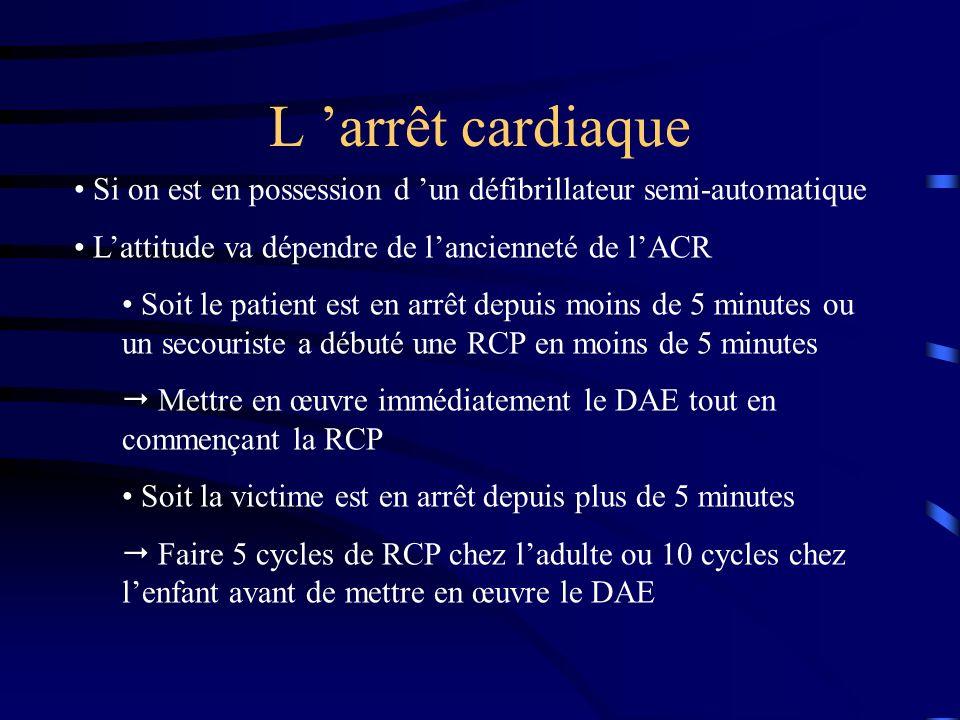 L 'arrêt cardiaque Si on est en possession d 'un défibrillateur semi-automatique. L'attitude va dépendre de l'ancienneté de l'ACR.