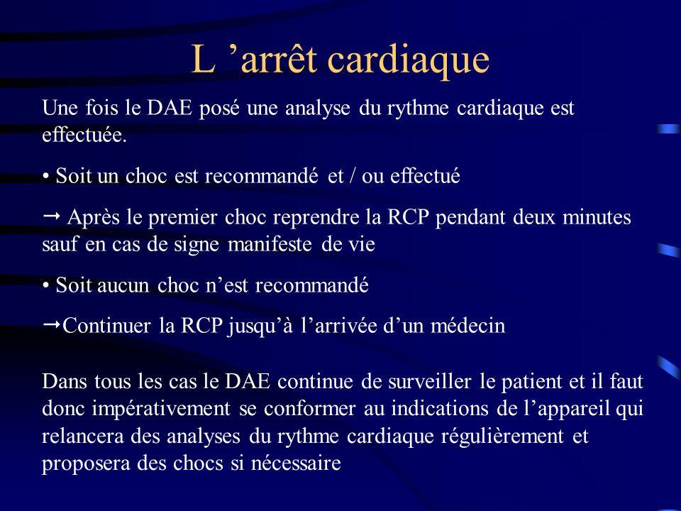 L 'arrêt cardiaque Une fois le DAE posé une analyse du rythme cardiaque est effectuée. Soit un choc est recommandé et / ou effectué.
