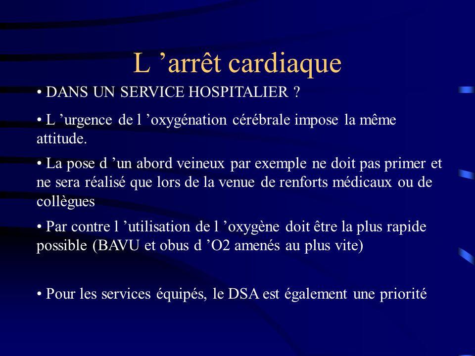 L 'arrêt cardiaque DANS UN SERVICE HOSPITALIER