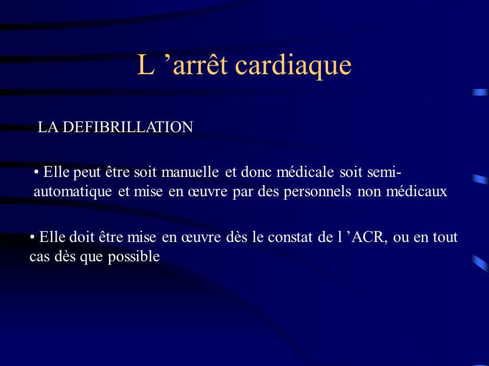 L 'arrêt cardiaque LA DEFIBRILLATION