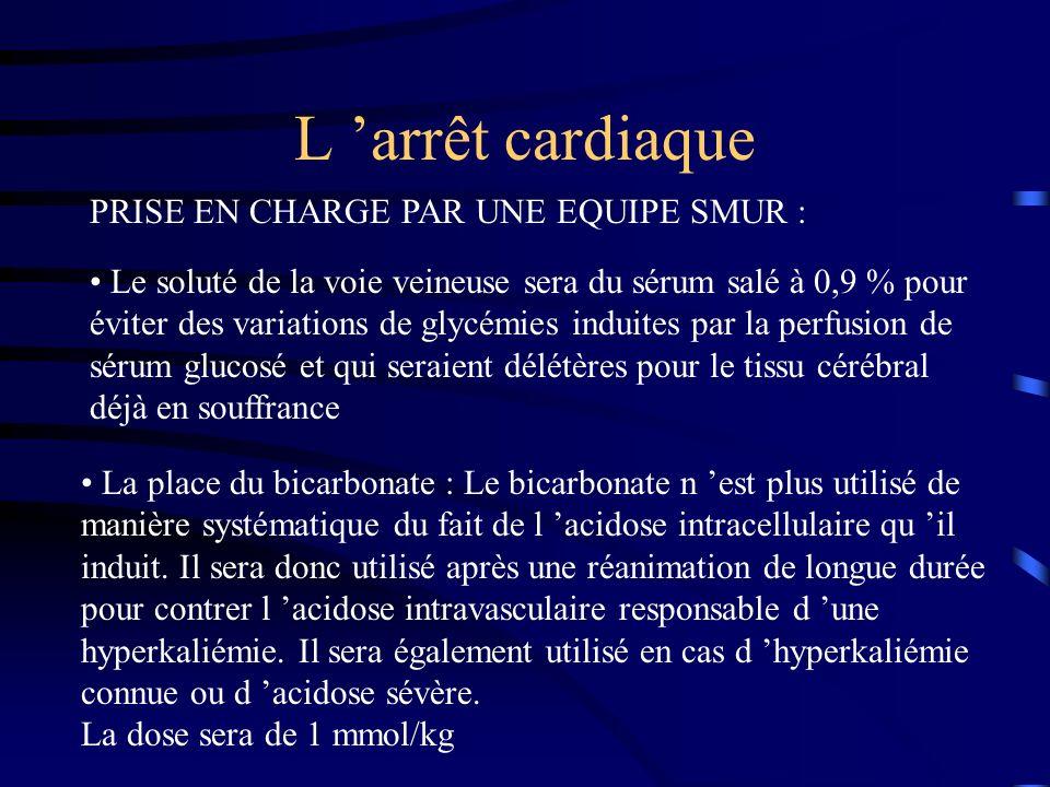 L 'arrêt cardiaque PRISE EN CHARGE PAR UNE EQUIPE SMUR :