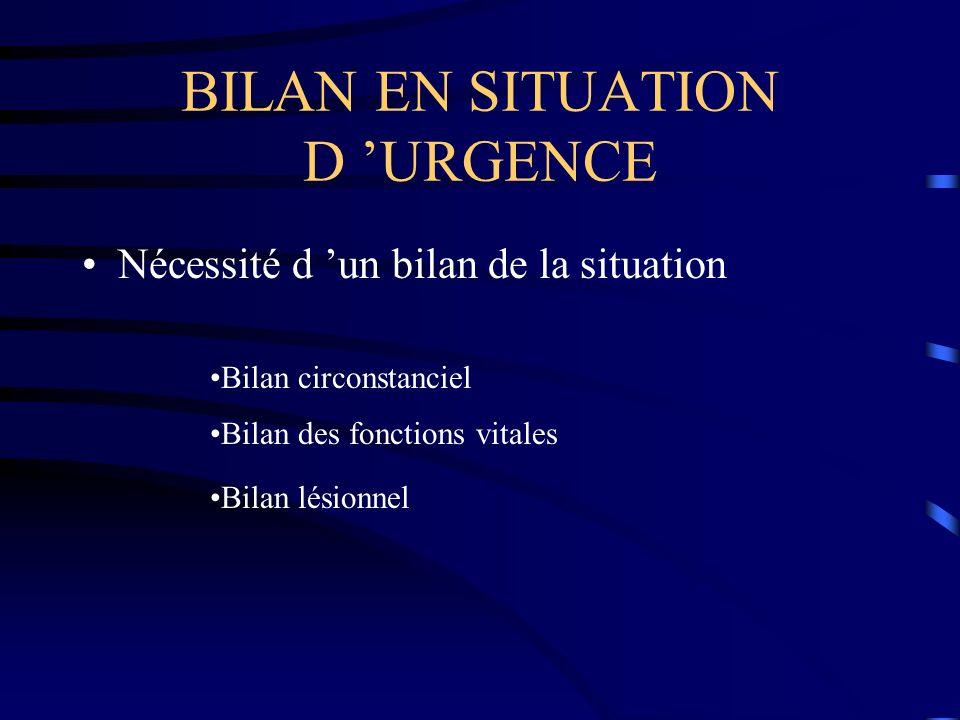 BILAN EN SITUATION D 'URGENCE