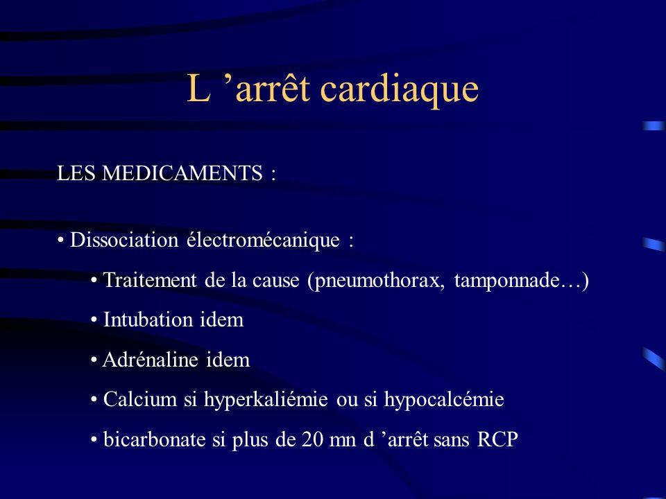 L 'arrêt cardiaque LES MEDICAMENTS : Dissociation électromécanique :