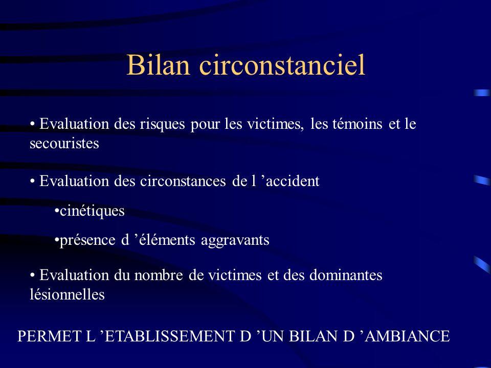 Bilan circonstanciel Evaluation des risques pour les victimes, les témoins et le secouristes. Evaluation des circonstances de l 'accident.