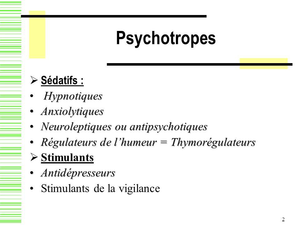 Psychotropes Sédatifs : Hypnotiques Anxiolytiques