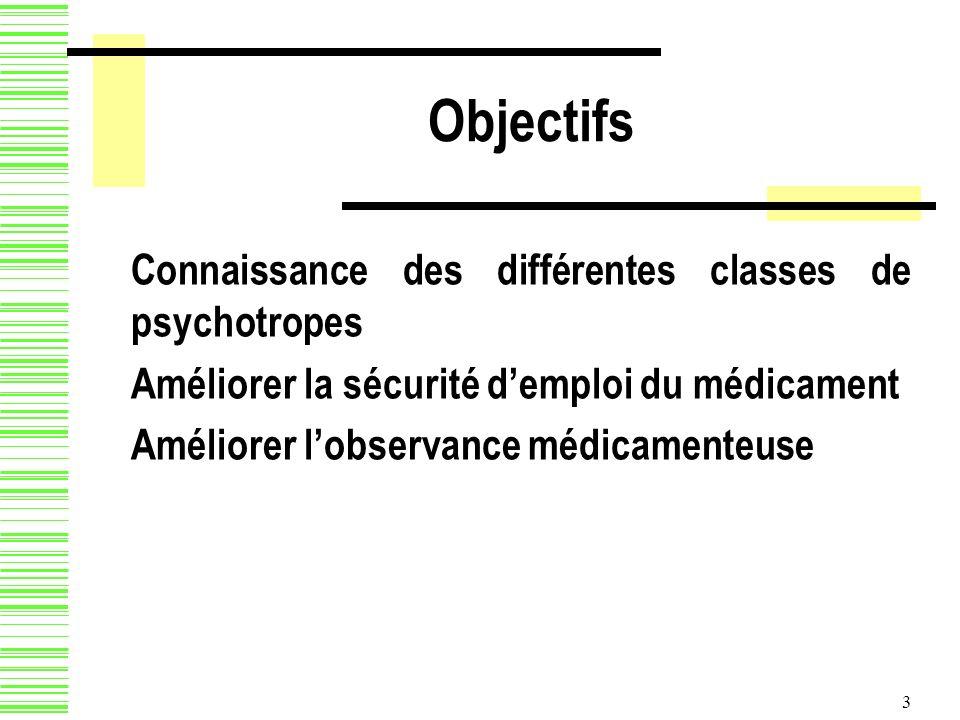 Objectifs Connaissance des différentes classes de psychotropes