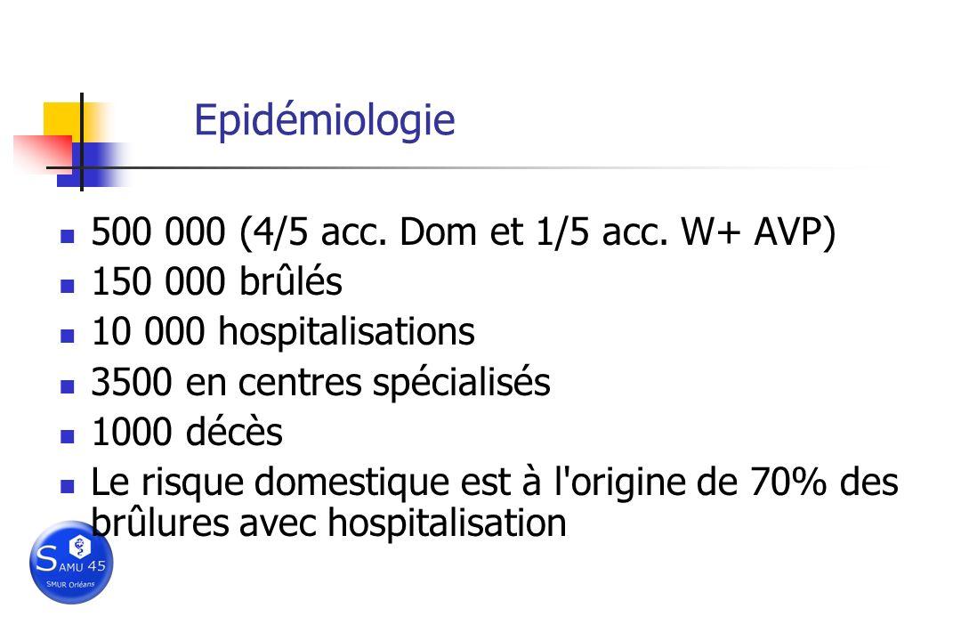 Epidémiologie 500 000 (4/5 acc. Dom et 1/5 acc. W+ AVP) 150 000 brûlés