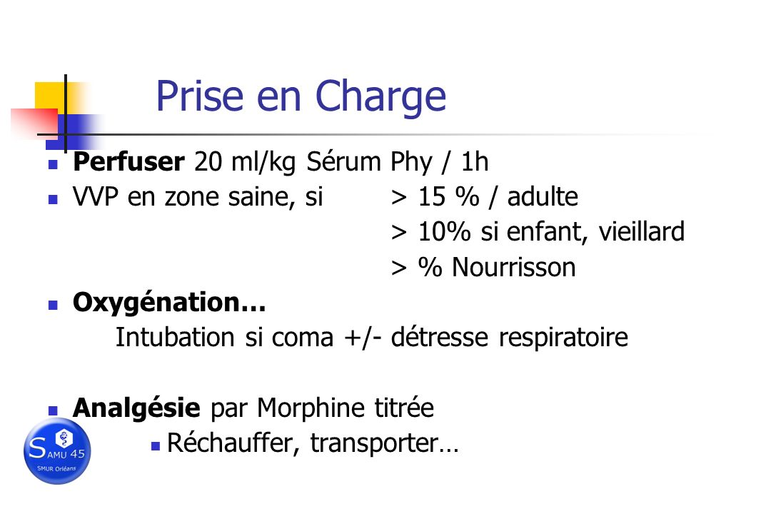 Prise en Charge Perfuser 20 ml/kg Sérum Phy / 1h