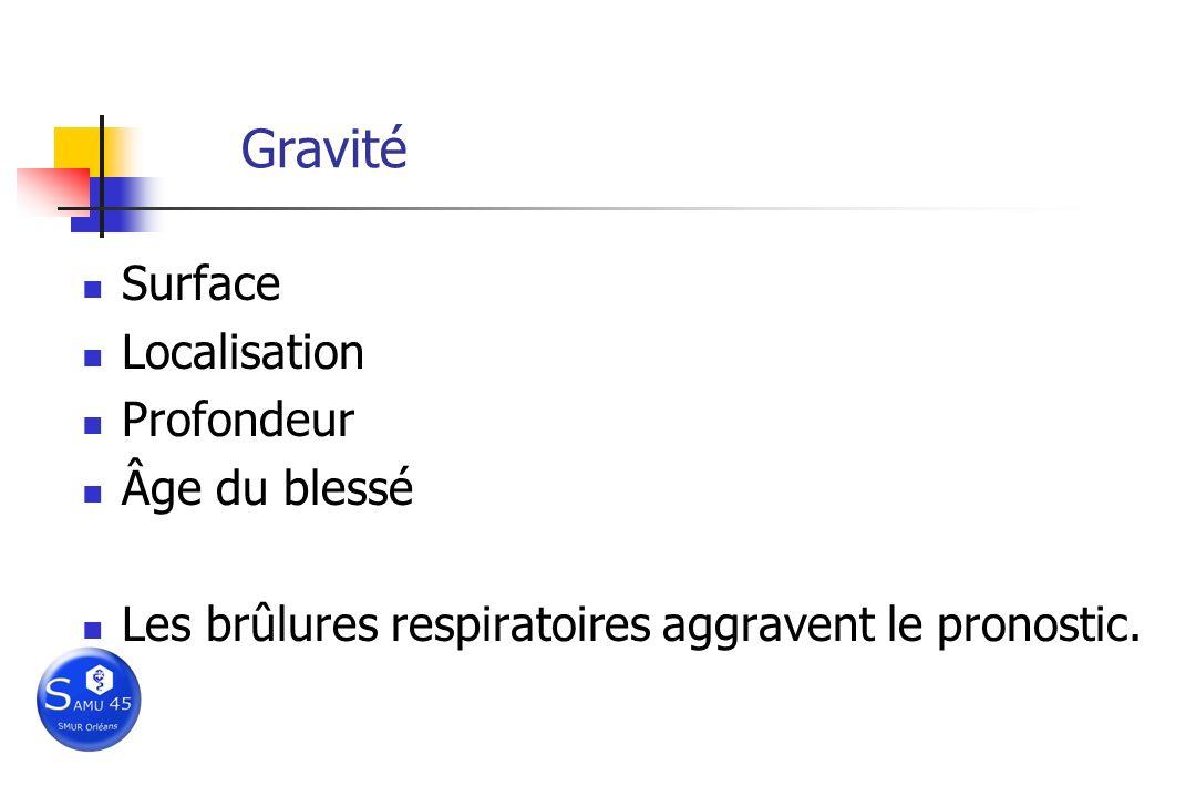 Gravité Surface Localisation Profondeur Âge du blessé