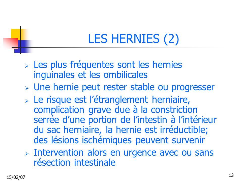 LES HERNIES (2) Les plus fréquentes sont les hernies inguinales et les ombilicales. Une hernie peut rester stable ou progresser.