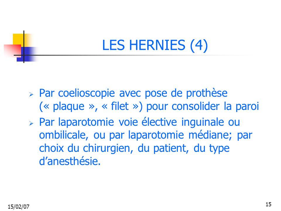 LES HERNIES (4) Par coelioscopie avec pose de prothèse (« plaque », « filet ») pour consolider la paroi.