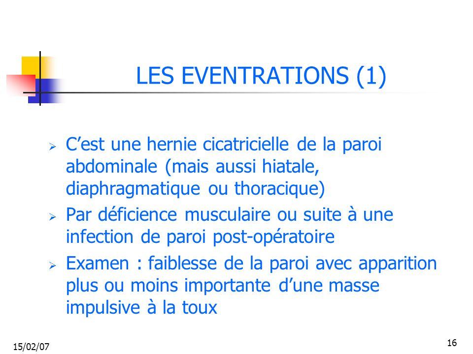 LES EVENTRATIONS (1) C'est une hernie cicatricielle de la paroi abdominale (mais aussi hiatale, diaphragmatique ou thoracique)