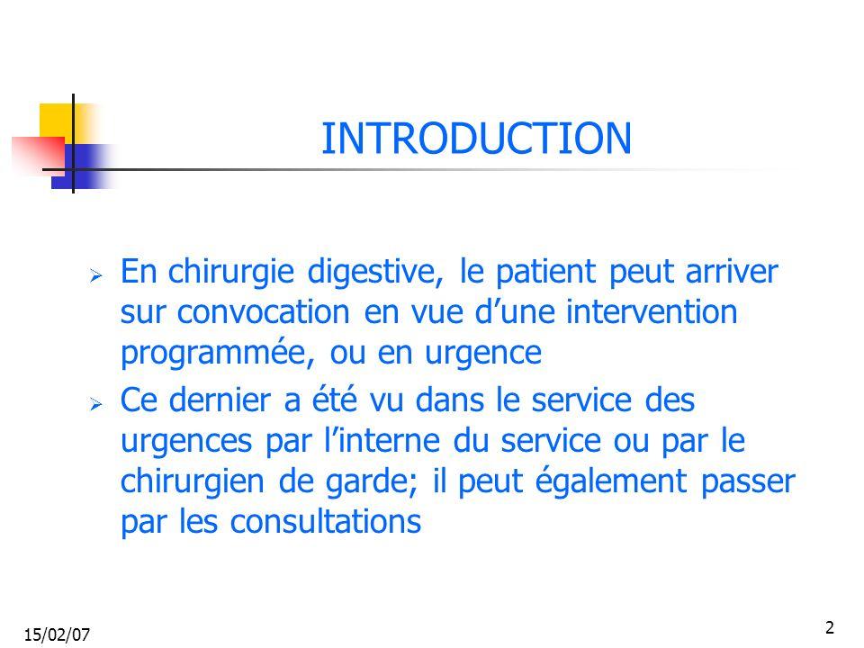 INTRODUCTION En chirurgie digestive, le patient peut arriver sur convocation en vue d'une intervention programmée, ou en urgence.