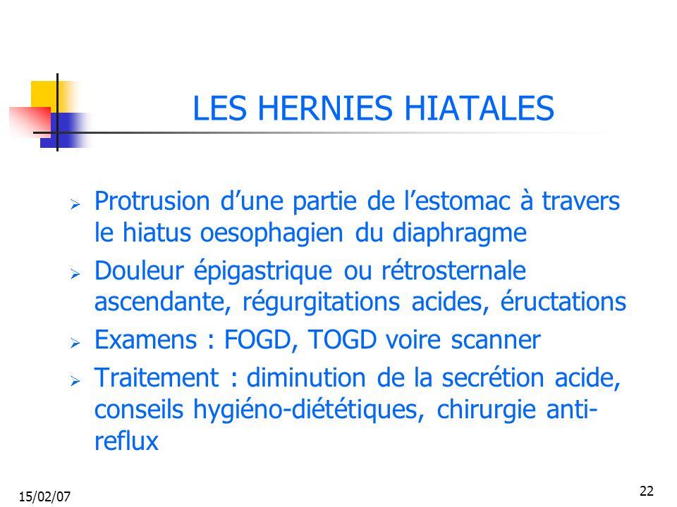 LES HERNIES HIATALES Protrusion d'une partie de l'estomac à travers le hiatus oesophagien du diaphragme.