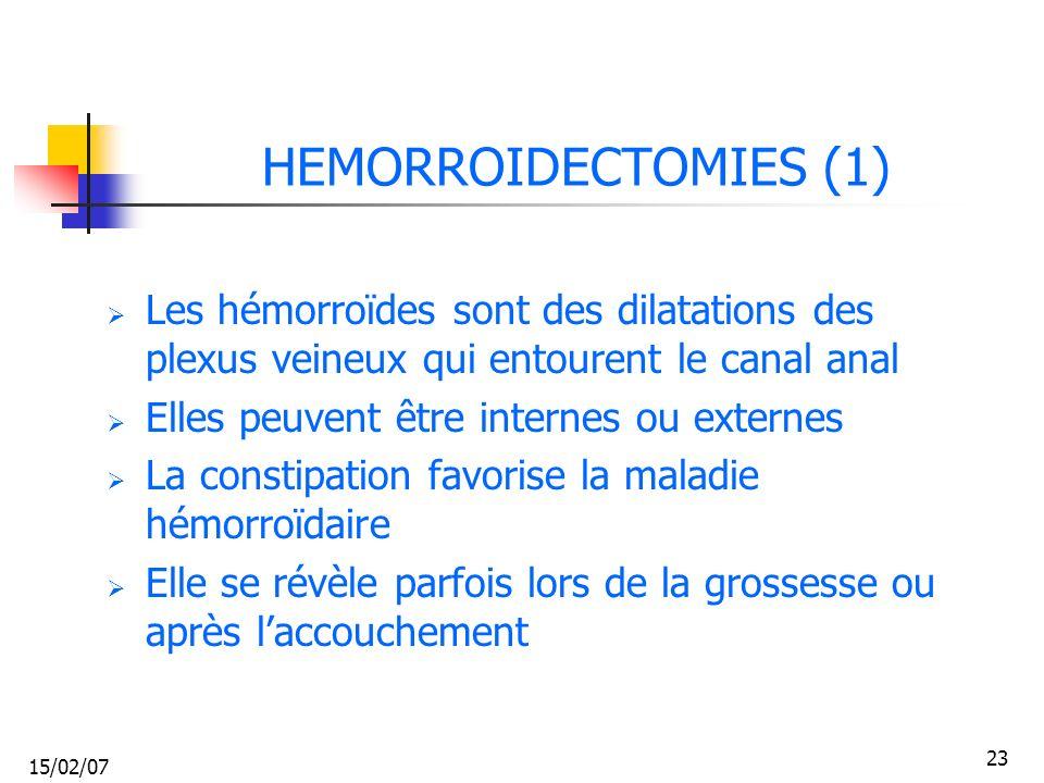 HEMORROIDECTOMIES (1) Les hémorroïdes sont des dilatations des plexus veineux qui entourent le canal anal.