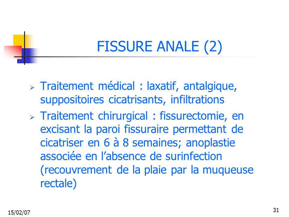 FISSURE ANALE (2) Traitement médical : laxatif, antalgique, suppositoires cicatrisants, infiltrations.