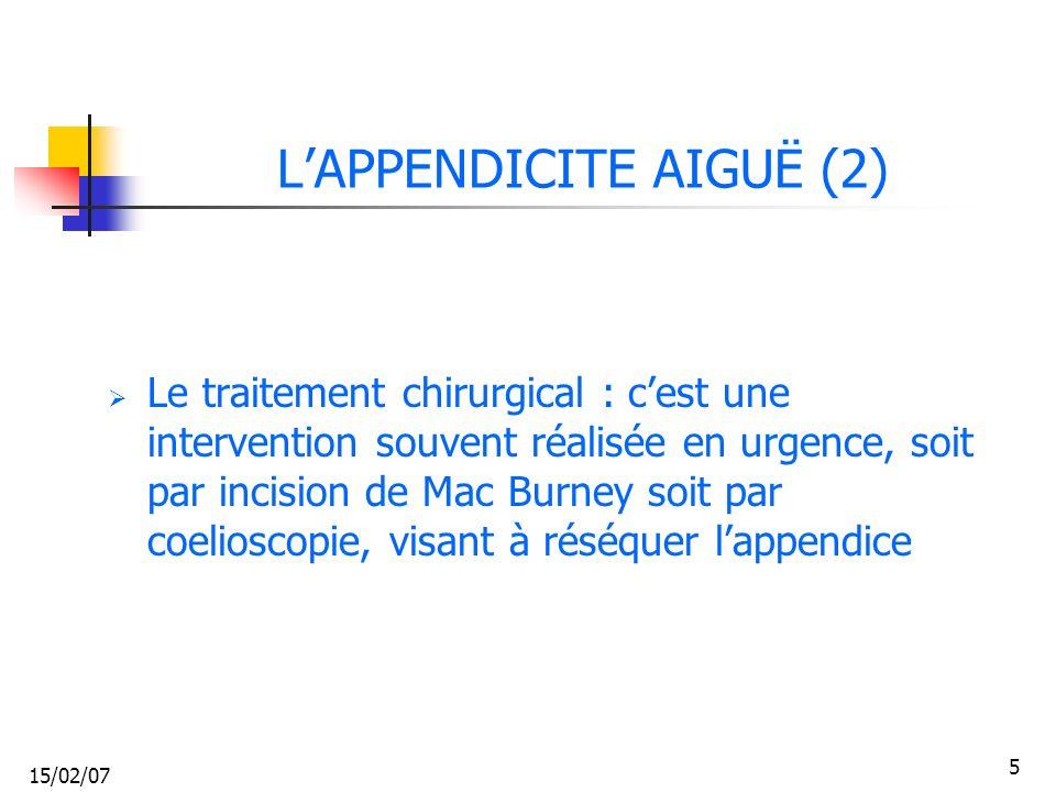 L'APPENDICITE AIGUË (2)