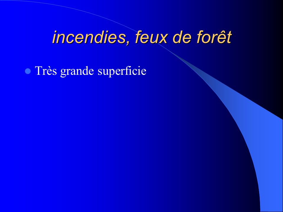 incendies, feux de forêt