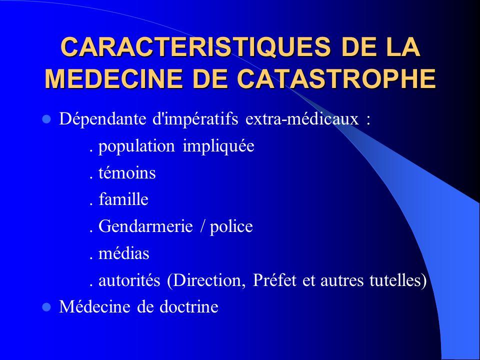 CARACTERISTIQUES DE LA MEDECINE DE CATASTROPHE