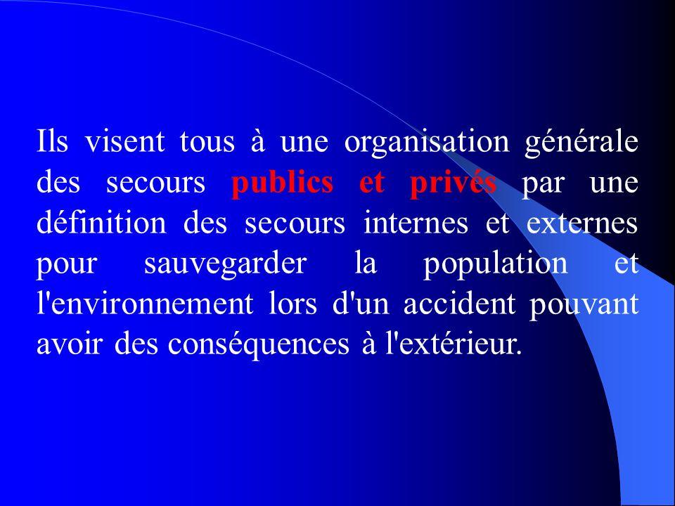 Ils visent tous à une organisation générale des secours publics et privés par une définition des secours internes et externes pour sauvegarder la population et l environnement lors d un accident pouvant avoir des conséquences à l extérieur.