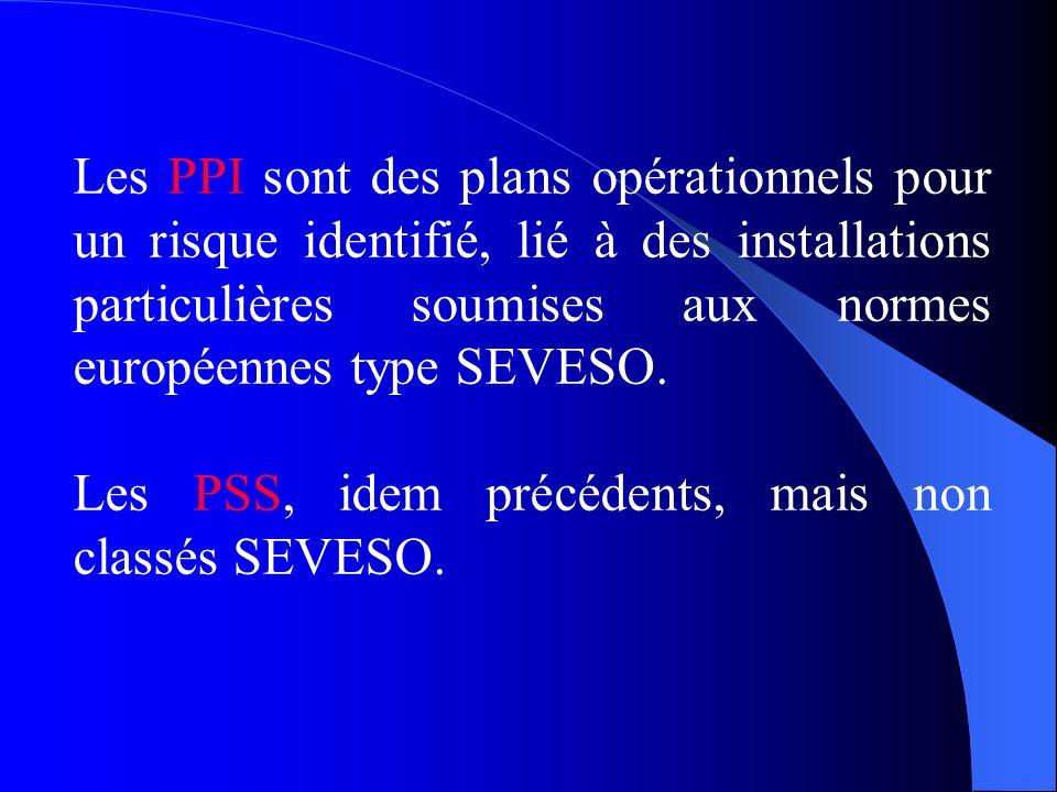Les PPI sont des plans opérationnels pour un risque identifié, lié à des installations particulières soumises aux normes européennes type SEVESO.