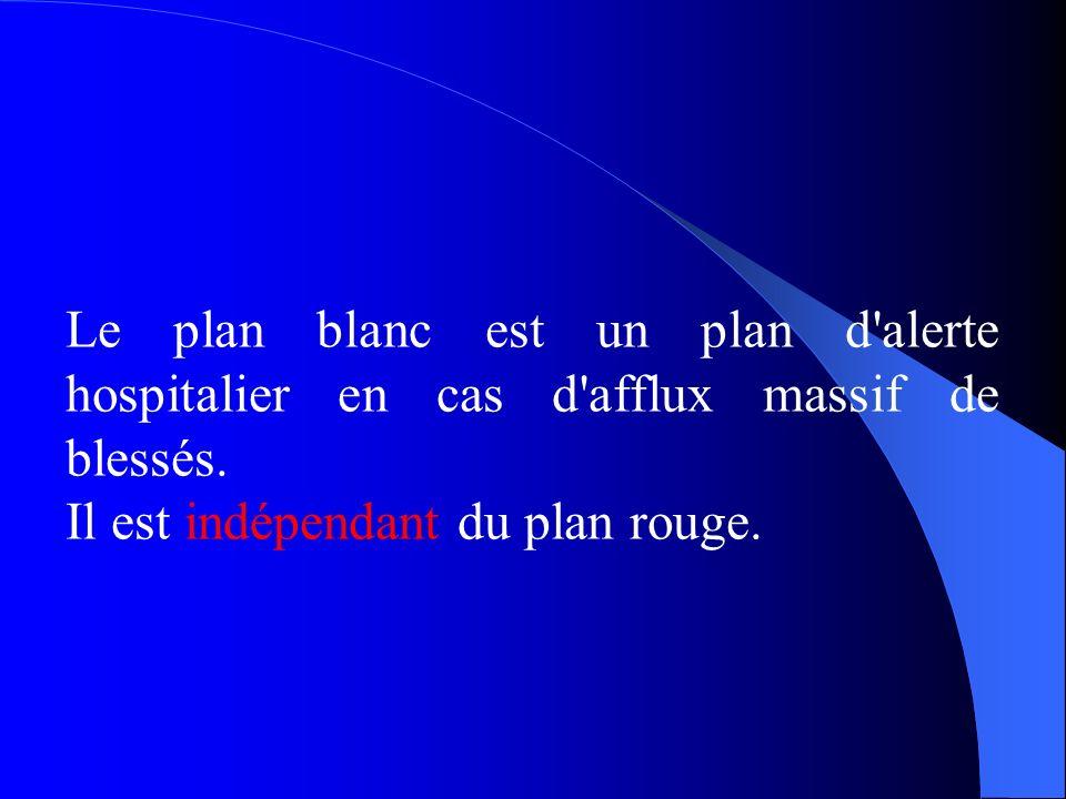 Le plan blanc est un plan d alerte hospitalier en cas d afflux massif de blessés.