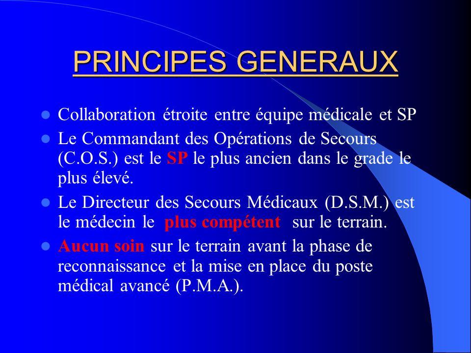 PRINCIPES GENERAUX Collaboration étroite entre équipe médicale et SP
