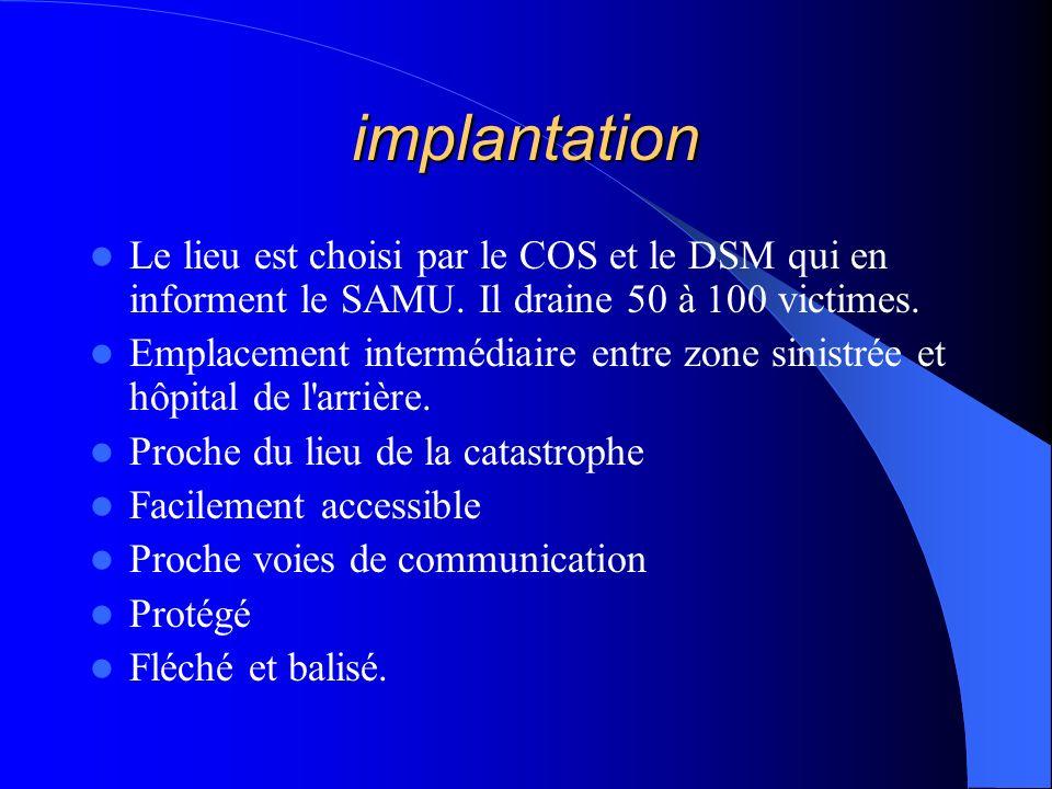 implantation Le lieu est choisi par le COS et le DSM qui en informent le SAMU. Il draine 50 à 100 victimes.