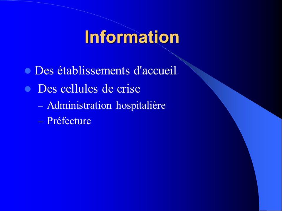 Information Des établissements d accueil Des cellules de crise