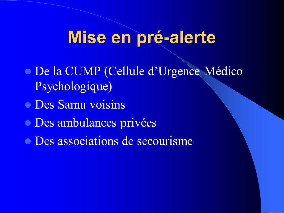 Mise en pré-alerte De la CUMP (Cellule d'Urgence Médico Psychologique)