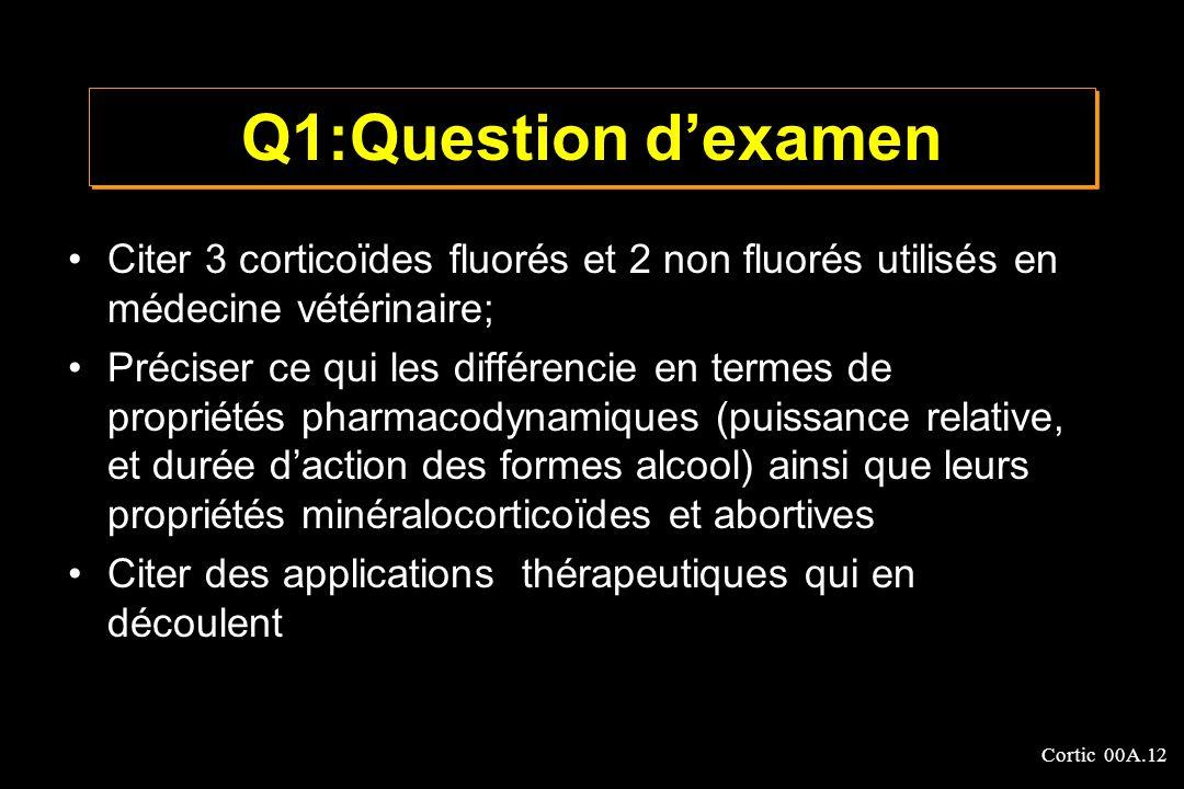 Q1:Question d'examen Citer 3 corticoïdes fluorés et 2 non fluorés utilisés en médecine vétérinaire;
