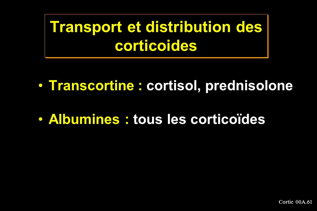 Transport et distribution des corticoides