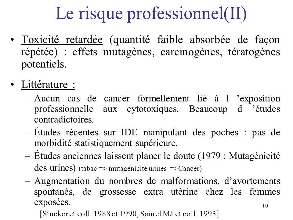 Le risque professionnel(II)