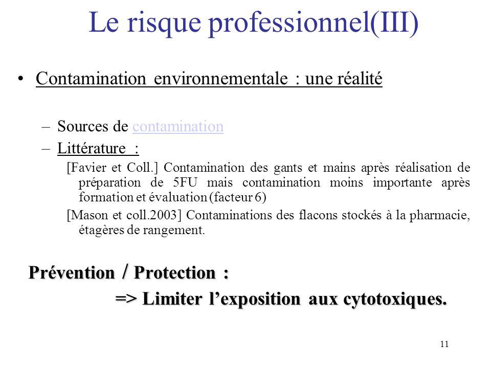 Le risque professionnel(III)