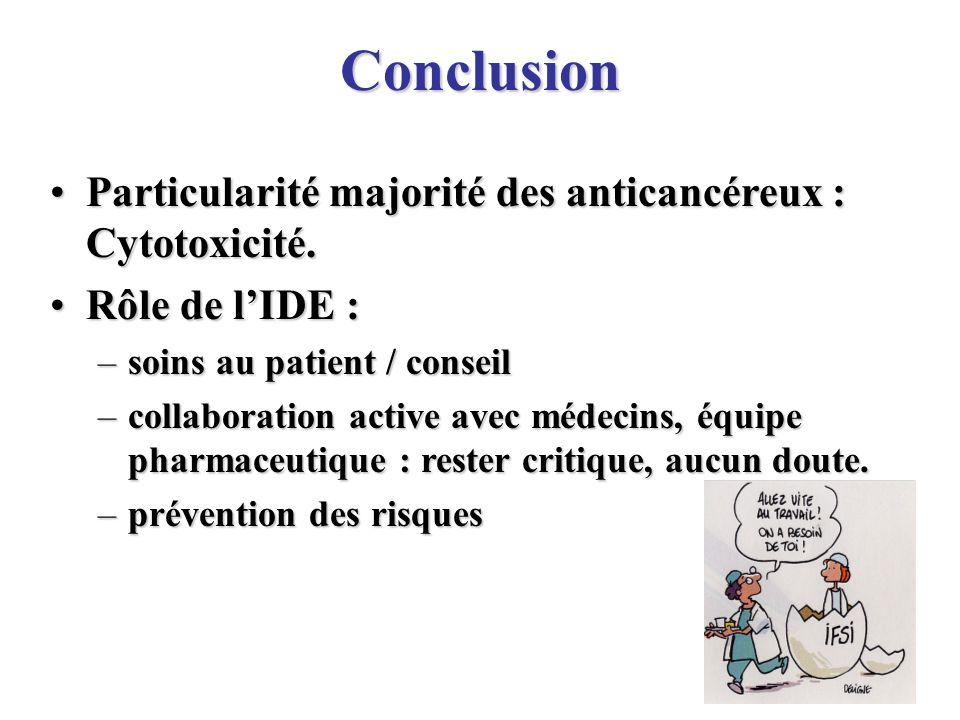Conclusion Particularité majorité des anticancéreux : Cytotoxicité.