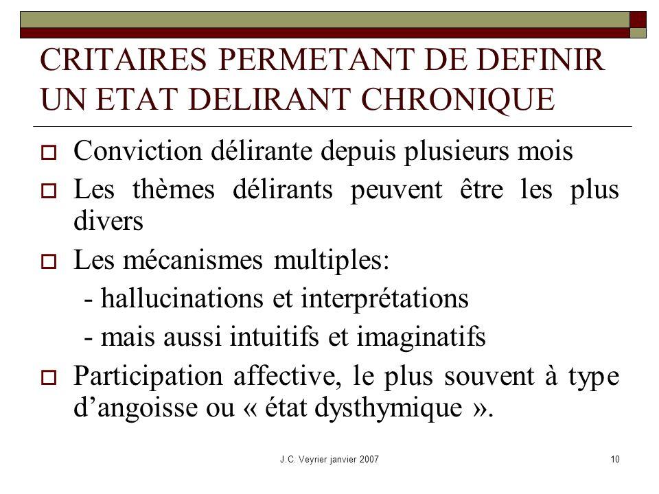 CRITAIRES PERMETANT DE DEFINIR UN ETAT DELIRANT CHRONIQUE
