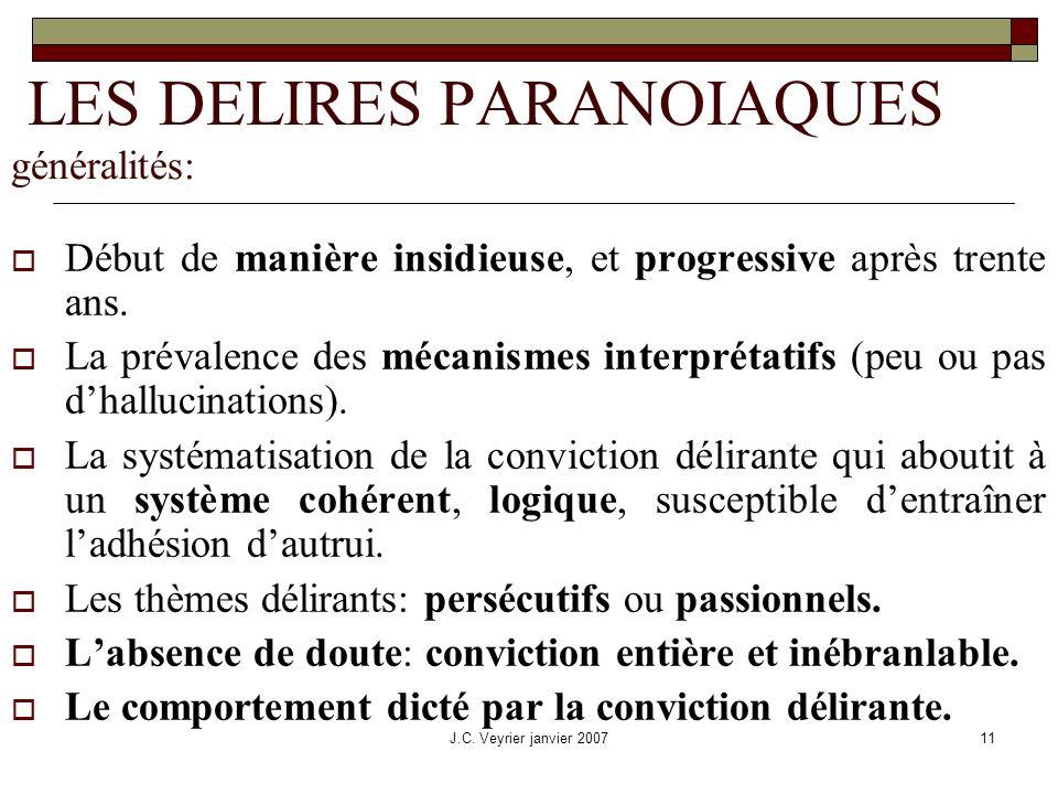 LES DELIRES PARANOIAQUES généralités: