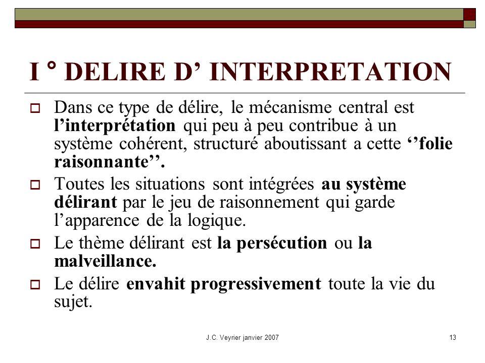 I ° DELIRE D' INTERPRETATION