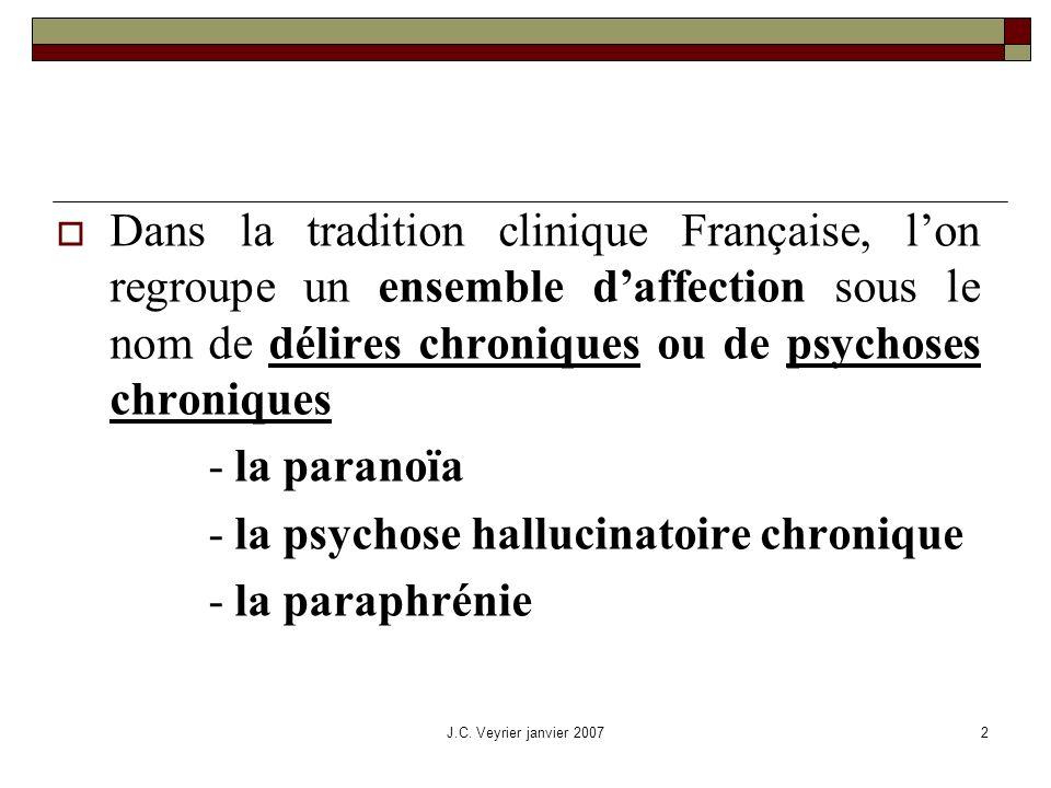 - la psychose hallucinatoire chronique - la paraphrénie
