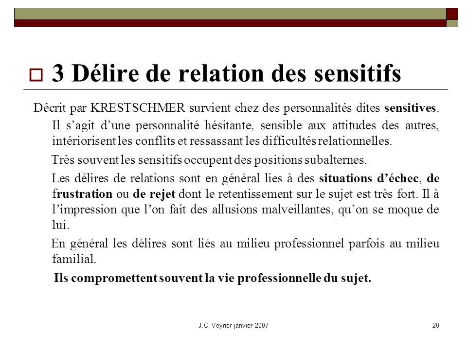 3 Délire de relation des sensitifs