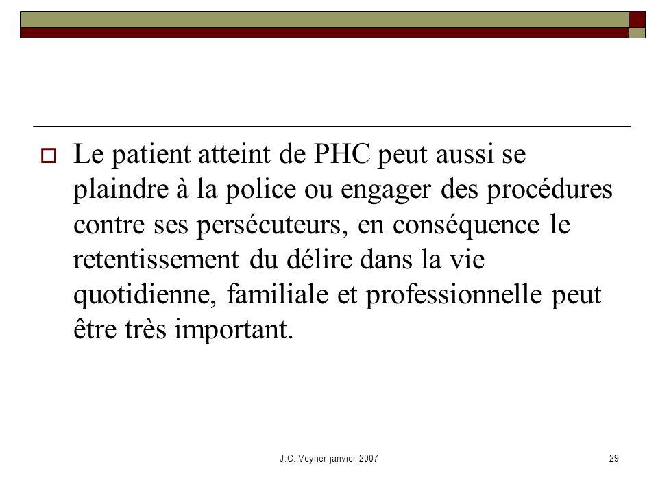 Le patient atteint de PHC peut aussi se plaindre à la police ou engager des procédures contre ses persécuteurs, en conséquence le retentissement du délire dans la vie quotidienne, familiale et professionnelle peut être très important.