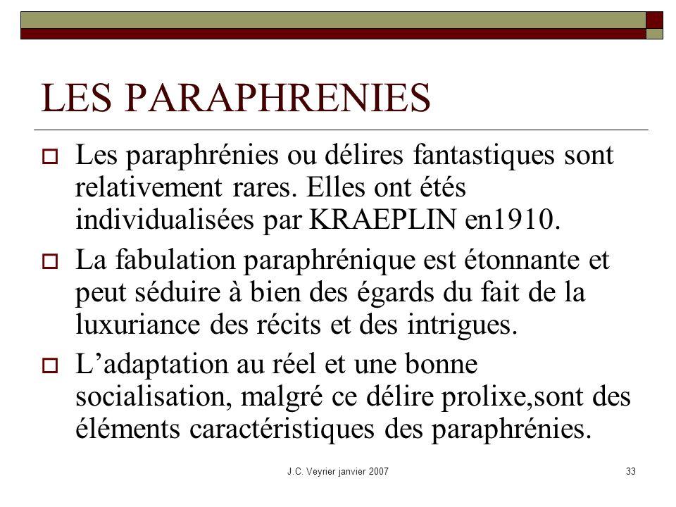 LES PARAPHRENIES Les paraphrénies ou délires fantastiques sont relativement rares. Elles ont étés individualisées par KRAEPLIN en1910.