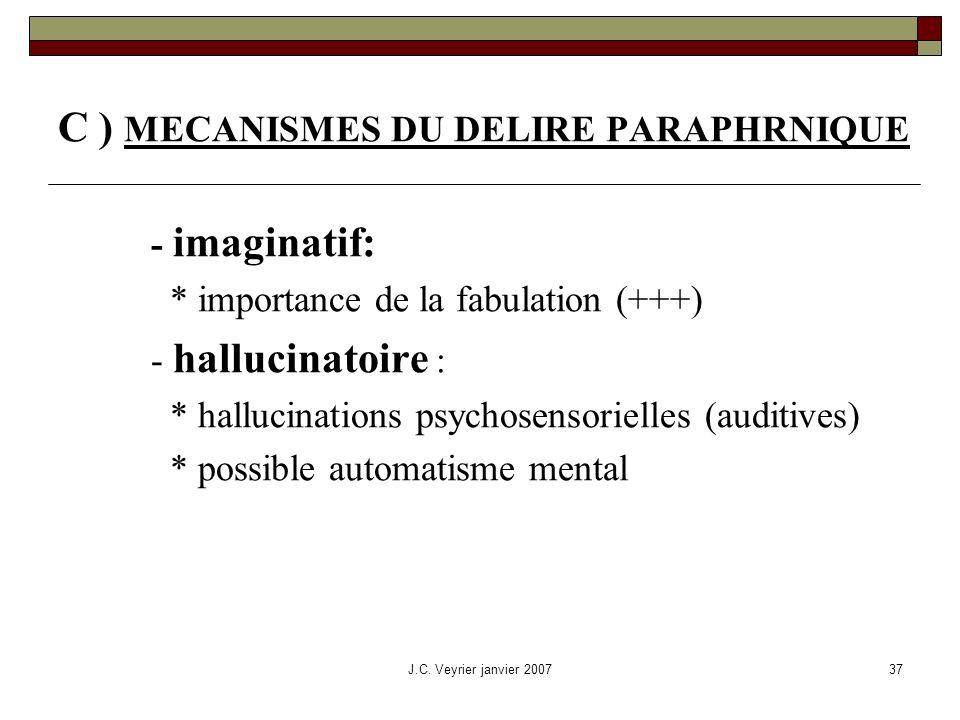 C ) MECANISMES DU DELIRE PARAPHRNIQUE