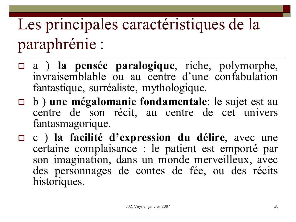Les principales caractéristiques de la paraphrénie :
