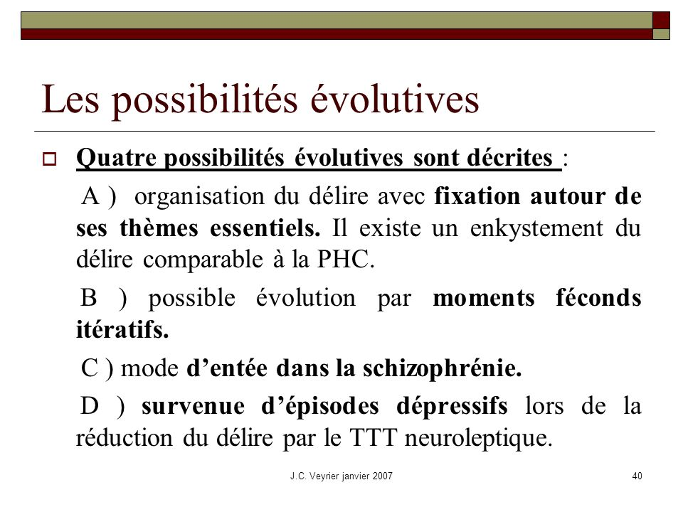 Les possibilités évolutives