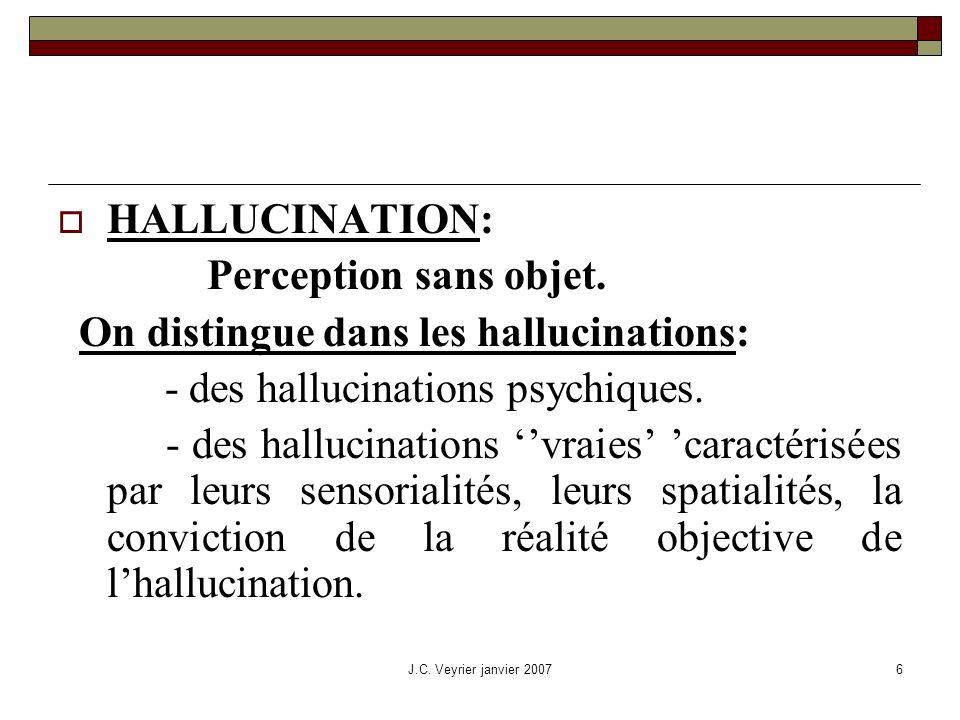 On distingue dans les hallucinations: - des hallucinations psychiques.